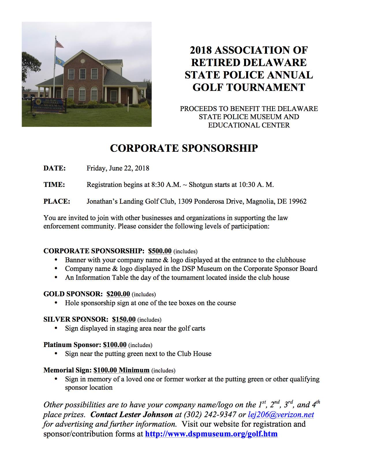 Delaware State Police Golf Tournament Donation Form