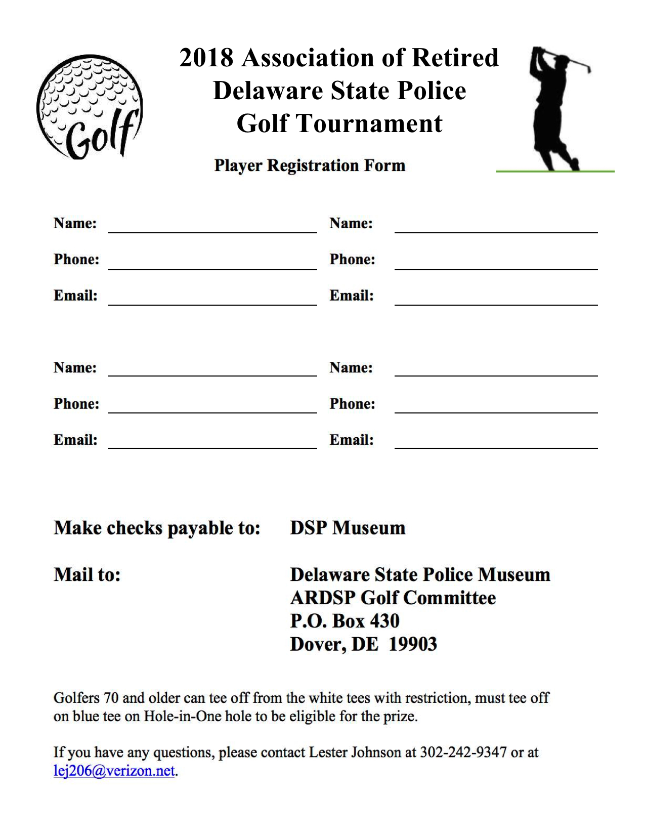 Delaware State Police Golf Tournament Player Registration Form